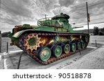 vietnam era tank at dusk