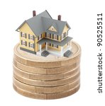 House on stack of euro coins - stock photo