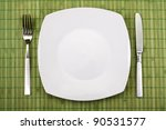 white empty plate  knife and...   Shutterstock . vector #90531577