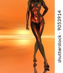 abstract naked women  body   3d ... | Shutterstock . vector #9053914