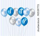 little boy blue balloon card in ...   Shutterstock .eps vector #90539773