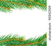 fresh green fir twigs isolated... | Shutterstock . vector #90542509