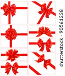 set of red gift bows with... | Shutterstock .eps vector #90561238