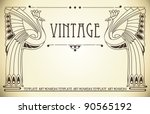 vintage background with bird of ... | Shutterstock .eps vector #90565192