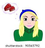 girl dreams of cake | Shutterstock .eps vector #90565792