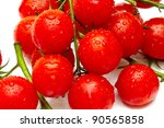 ripe cherry tomatoes on white... | Shutterstock . vector #90565858