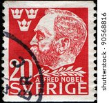 Small photo of SWEDEN - CIRCA 1946: A stamp printed in Sweden shows Alfred Nobel - Swedish chemist, engineer, innovator, and armaments manufacturer, he is the inventor of dynamite, circa 1946