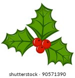 Holly berry illustration - stock vector