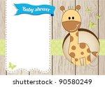 Stock vector baby shower giraffe boy card 90580249