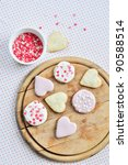Heart Shaped Biscuits On A...