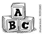 doodle style children's block... | Shutterstock .eps vector #90592885
