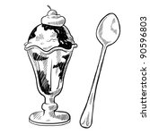 Doodle style ice cream sundae illustration in vector format - stock vector