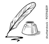doodle style feather quill pen... | Shutterstock .eps vector #90596809