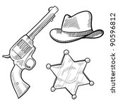 Doodle style wild west cowboy and sheriff objects illustration in vector format including gun, badge and hat - stock vector