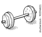 Doodle style barbell or dumbell illustration in vector format - stock vector