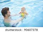little baby's first swim | Shutterstock . vector #90607378