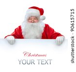 Santa Claus Holding Banner Wit...