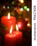 Christmas Red Candles With...