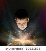 boy is reading a magic book in... | Shutterstock . vector #90621538