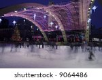 Stock photo christmas day skaters at toronto city hall ice rink 9064486