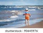 little boy at sand beach | Shutterstock . vector #90645976