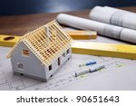 construction plans with helmet... | Shutterstock . vector #90651643