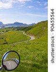 Lush green scenery on Lofoten islands, Norway - stock photo