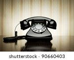 vintage telephone over striped... | Shutterstock . vector #90660403