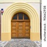 modern wooden door with glass... | Shutterstock . vector #90662938