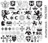 heraldic symbols and crosses | Shutterstock .eps vector #90670387