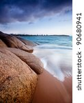 Large Rocks on Australian Beach - stock photo