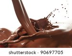 splash of chocolate isolated on ... | Shutterstock . vector #90697705