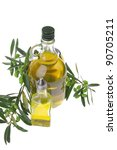 bottle of olive oil with raw... | Shutterstock . vector #90705211