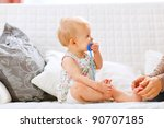 profile portrait of baby with... | Shutterstock . vector #90707185