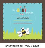 Stock vector baby shower card with cute bee vector illustration 90731335