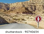 Road Sign And View On Canyon O...