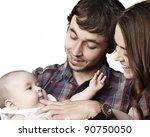 close up of parents cuddling... | Shutterstock . vector #90750050