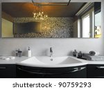 washbasin in the modern bathroom | Shutterstock . vector #90759293