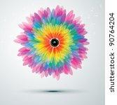 big rainbow flower with golden... | Shutterstock . vector #90764204