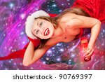 girl wearing santa clothes with ... | Shutterstock . vector #90769397