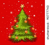 christmas tree illustration in... | Shutterstock .eps vector #90777743