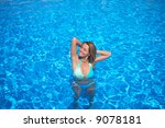 beautiful girl in the pool | Shutterstock . vector #9078181