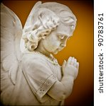Child Angel Statue Praying Wit...
