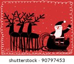 red postcard santa with sleigh and deers - stock vector