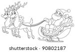 outlined santa riding his sleigh | Shutterstock .eps vector #90802187