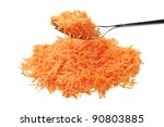 Fresh grated carrot with fork isolated on a white background - stock photo