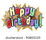 happy birthday with stars on a... | Shutterstock . vector #90805235