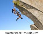 female rock climber struggles... | Shutterstock . vector #90805829