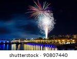 christmas celebration fireworks ... | Shutterstock . vector #90807440