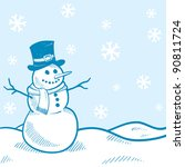 Doodle style holiday snowman landscape background illustration in vector format - stock vector